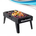 Chefman Charcoal Barbeque Grill Foldable/Portable BBQ Lightweight Simple Grill for Outdoor Cooking/Camping Picnics Travel/Barbecue Grill with 5 Skewers, 1 Grill (47x28x38 cm, Black)