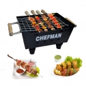 Chefman Charcoal Barbeque Grill with Accessories 4 Skewers,1 Tong (Made in India) (Small)